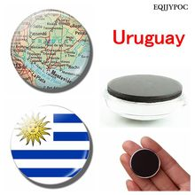 Uruguay National Flag 30 MM Fridge Magnet of Glass Dome Magnetic Refrigerator Stickers Note Holder Home Decoration