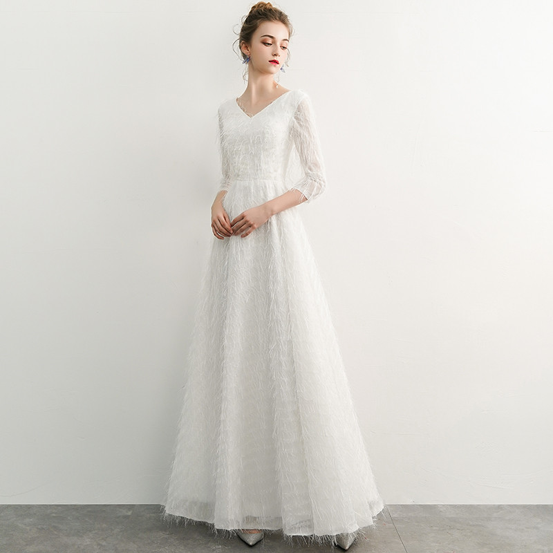 weiyin White Sexy Women Lace Evening Dress 2019 Dubai Turkish Arabic Sexy Long  Sleeves Formal Prom Party Dresses WY1086-in Evening Dresses from Weddings  ... bcb310919ee0