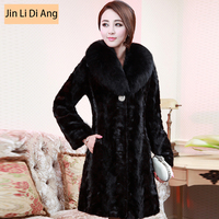 Female Marten Overcoat Fox Fur Medium Long Mink Hair Fight Mink Fur Coat