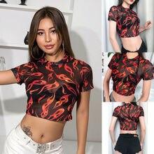 Hirigin Women Sexy Perspective Short Sleeve Crew Neck Flame Print Sheer Mesh Angel Crop Top
