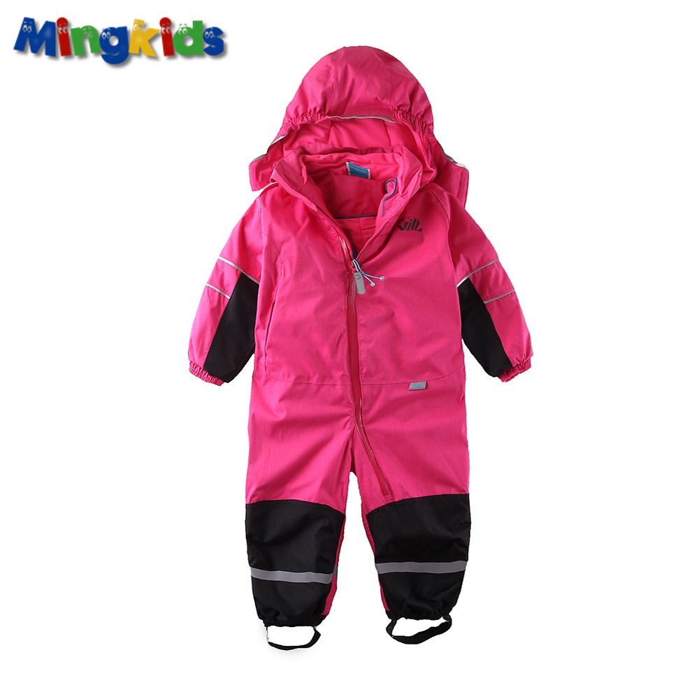 Mingkids Snowsuit overall girl Rompers Ski Jumpsuit Outdoor Snow Suit waterdicht winddicht met fleece voering met capuchon