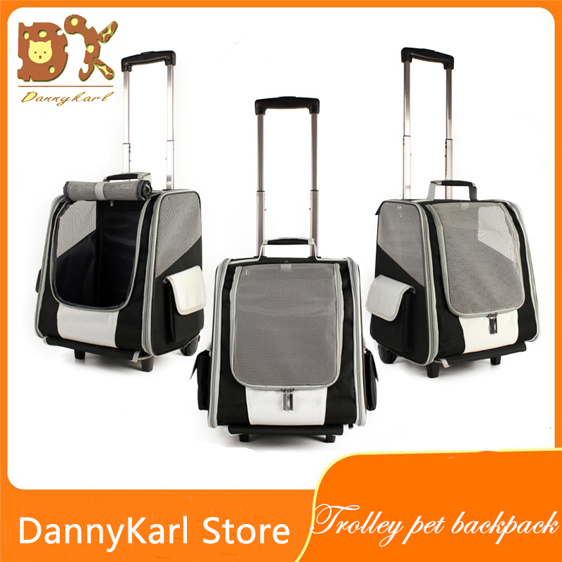 DannyKarl Pet Bag Trolley Dog Backpack Out Shoulder Cat Box Case Portable Double Wheel Foldable