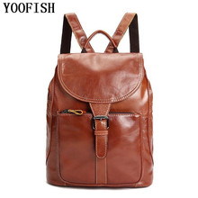 Genuine Leather Men Backpack Large Capacity Man Travel Bags High Quality Trendy Business Bag For Leisure Laptop LJ-865
