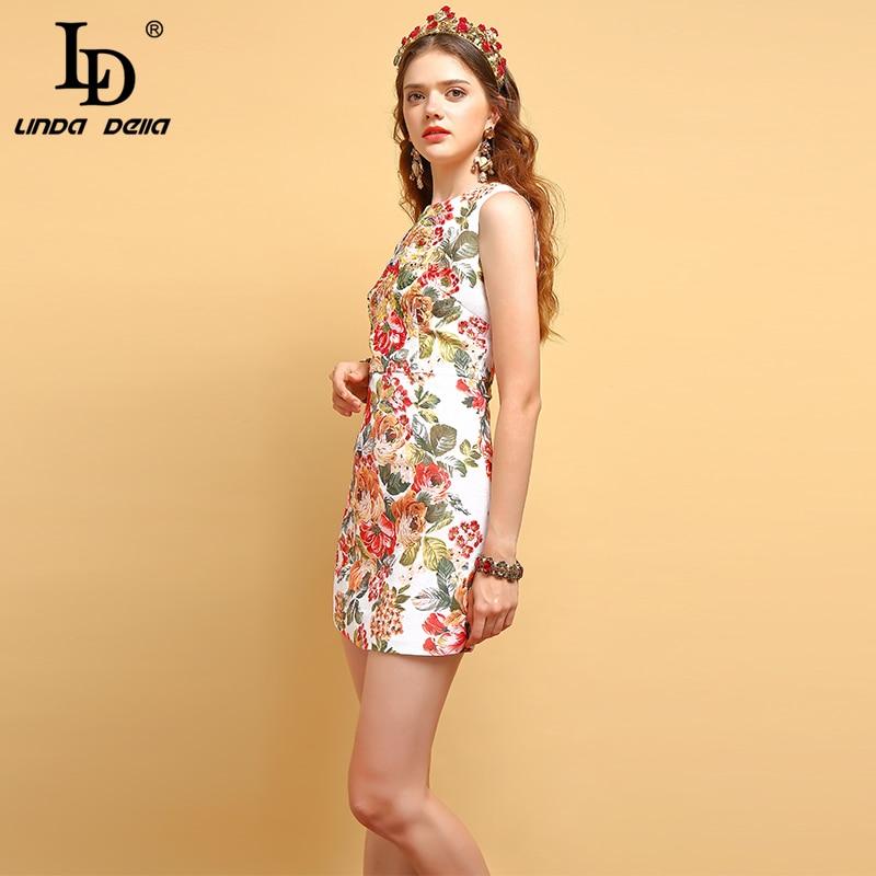 LD LINDA DELLA Fashion Runway Vest Dress Women 39 s Sleeveless Crystal Beading Floral Print Elegant Casual Vacation Mini Dresses in Dresses from Women 39 s Clothing