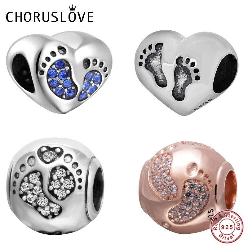 Choruslove Baby Footprint Charm Genuine 925 Sterling Silver Foot Prints Beads fit Original Pandora Charms DIY Bracelet Jewelry