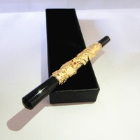Great corporate award for company Anniversary brand quality metal pen 80g/pc luxury gold color pen with nice gift box