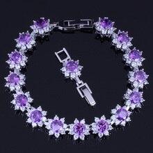 Exclusive Round Purple Cubic Zirconia White CZ 925 Sterling Silver Link Chain Bracelet 18cm 20cm For Women V0063 real 925 sterling silver 6mm cubic zirconium round cz tennis bracelet bsqd3055