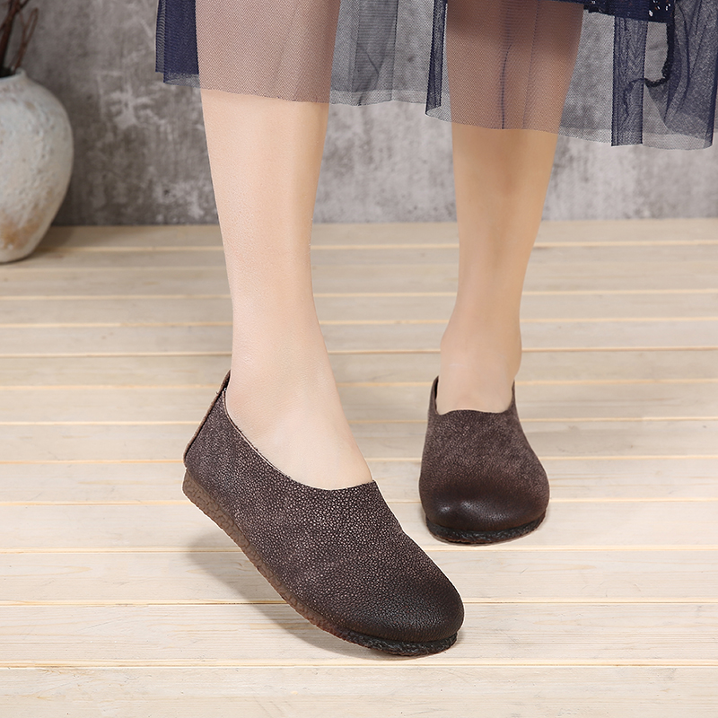 Comfort Slip On Women s Flat Shoes Handmade Genuine Leather Lady Casual Flats Round Toe Outdoor