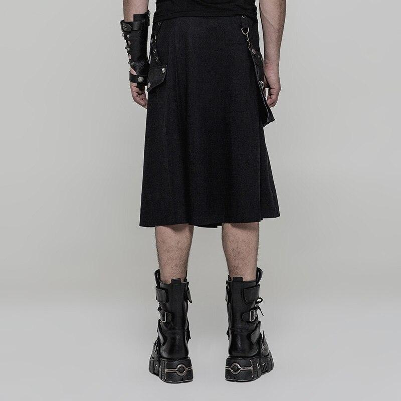 72146767e Punk Rave negro moda gótico bolsillos plisados pantalones de media falda  para hombre Cosplay Emo rendimiento WQ362