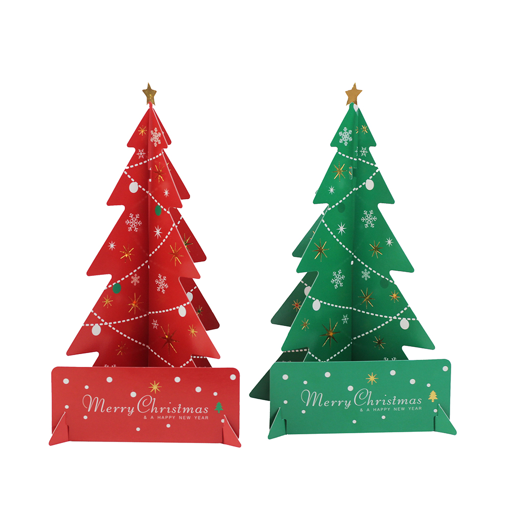 Green christmas tree with red decorations - 2pcs Merry Christmas Red Green Christmas Tree Centerpeice Desk Decoration Paper Craft Christmas Home Decorative