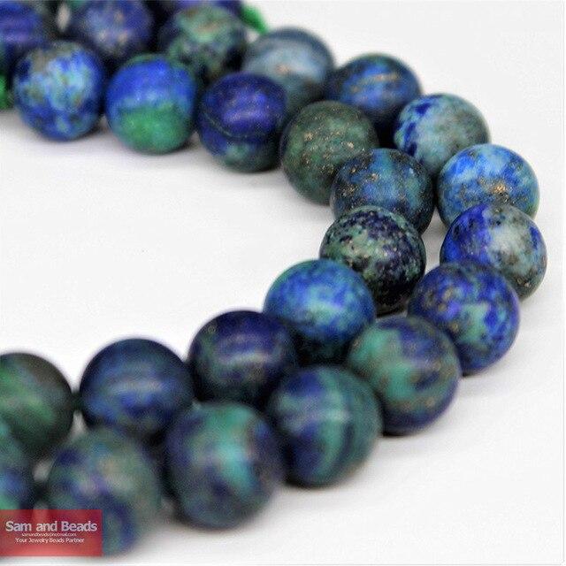 6f6e90cdcf14 Piedra Natural mate Lapis Lazuli malaquita azurita ágatas piedra cuentas  para pulsera collar 4-10mm