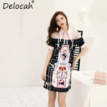 Delocah New Women Summer Drerss Runway Fashion Designer Beading Sequined Geometric Print Elegant Vintage Loose Short Dresses
