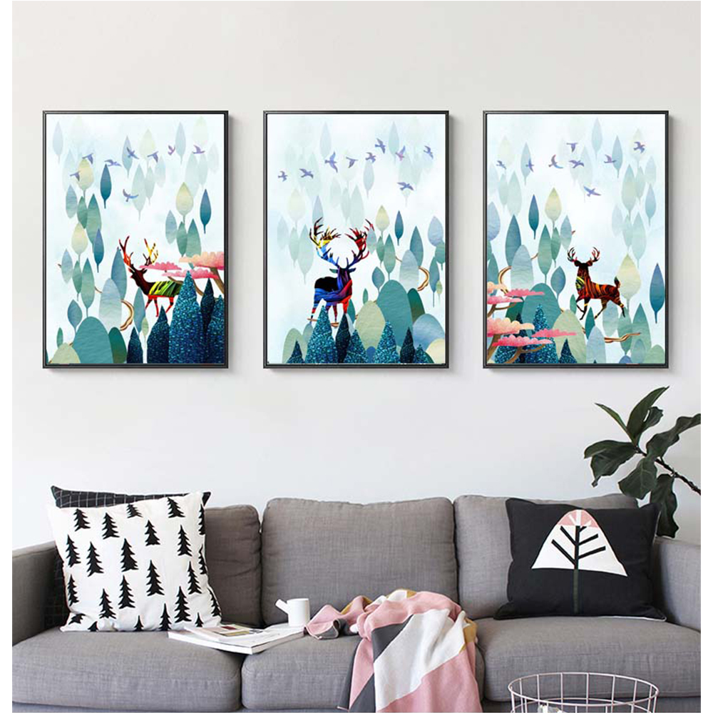 Canvas Painting Forest And Deer Cartoon Decorative Painting For Bedroom Room Home Decor Posters And Prints in Painting Calligraphy from Home Garden