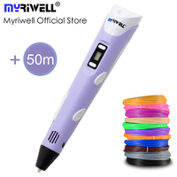 Myriwell 3D Pen 3D Printer Pen 3D Printing Drawing Pen With 50 Meters 10 Color ABS Filament Magic Maker Arts for Student Gift