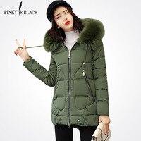 Pinky Is Black 2017 Winter Jacket Women Long Winter Coats Parkas Ladies Padded Fur Collar Outwear