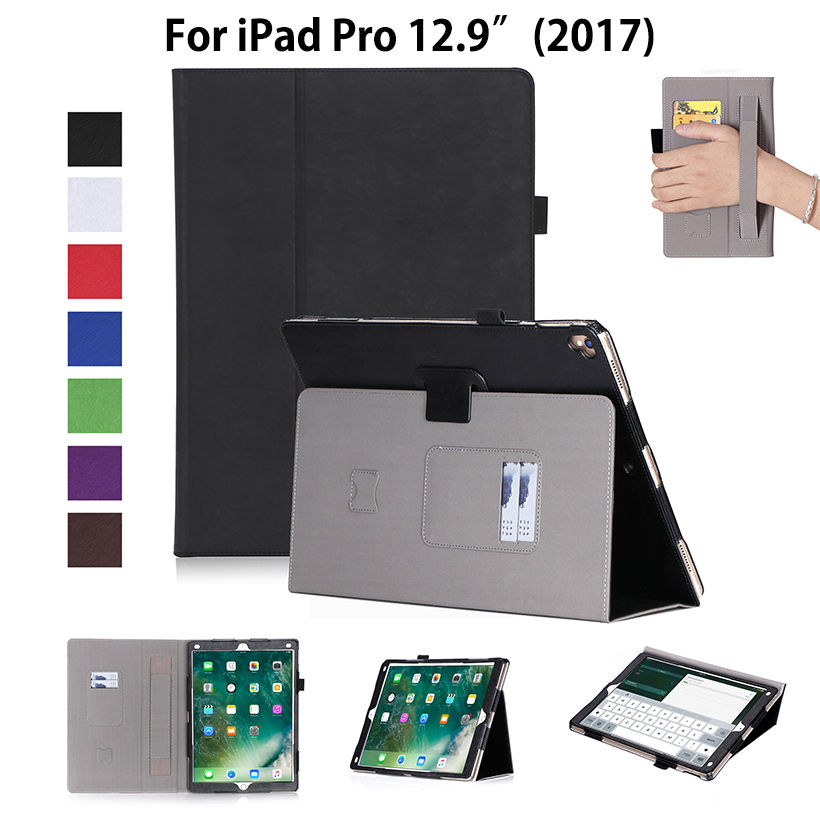 High Qualtiy PU Leather Case for iPad Pro 12.9 inch 2017 Release Case Cover Funda Tablet Hand Holder Protective Flip Stand Shell case for funda ipad pro 12 9 luxury business leather case tablet 12 9 inch wake up hand belt holder stand flip bags alabasta