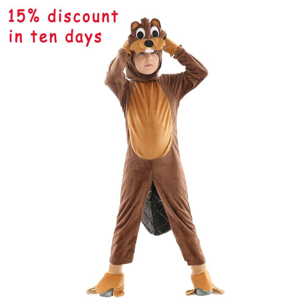 Enfants animaux écureuil pyjama astucieux marron écureuil Costume combinaison enfant Halloween fête des enfants cadeau âge de 3-7