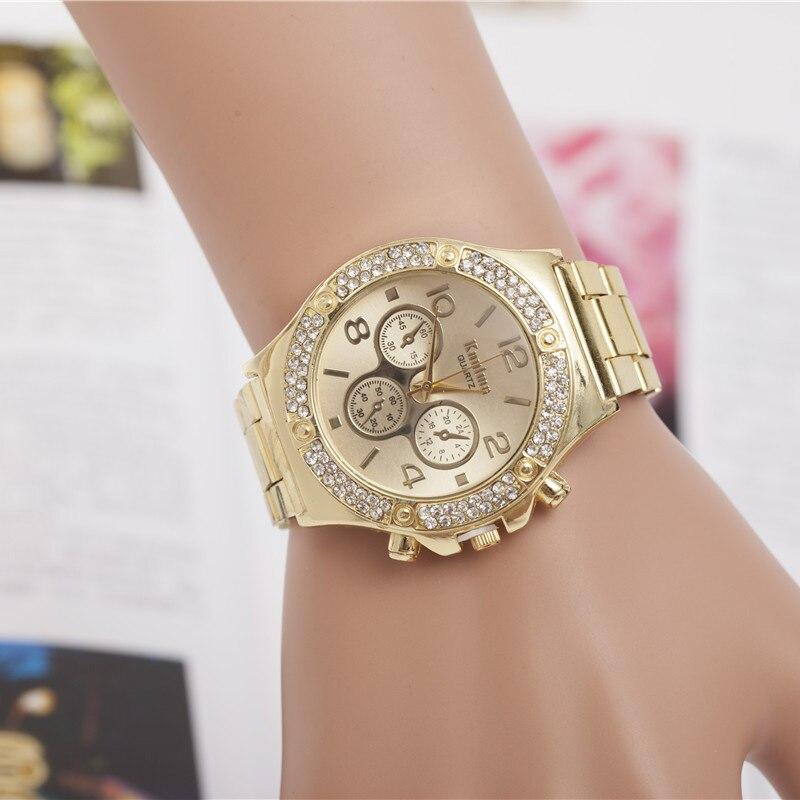 Summer new luxury fashion alloy steel watches three eyes diamond women and men quartz watches stainless