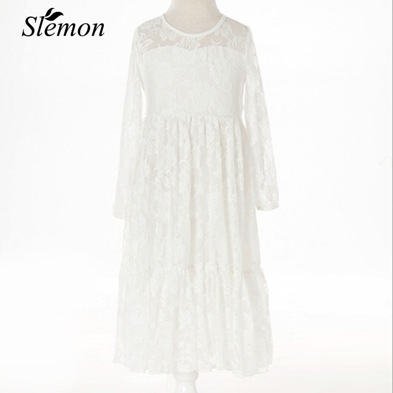 2018 Flower Girls Lace Long Maxi Dress Kids Princess Wedding Prom Birthday Party Big Bow Girl Long Sleeve First Communion Dress kids lace princess girl communion dress baby long sleeved bridesmaid wedding party birthday elegant white big bow girls dress