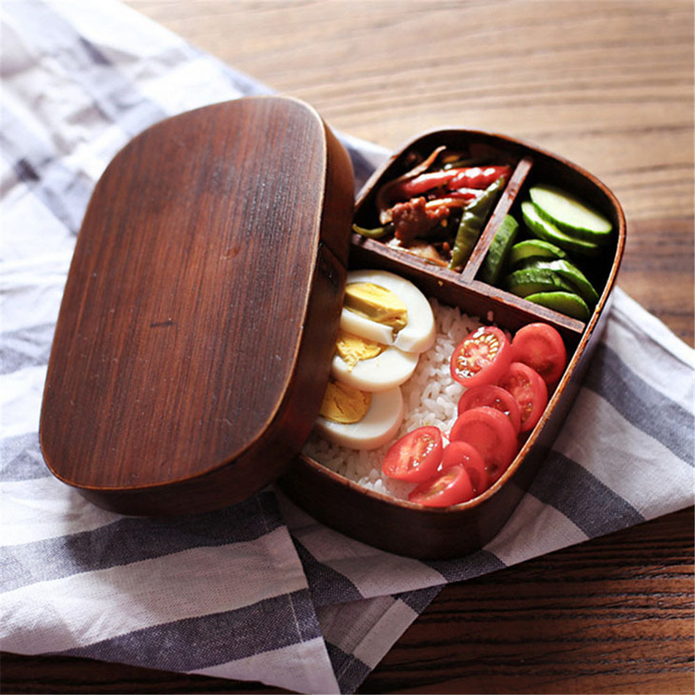 Vintage Advanced Graceful Japanese Natural Wooden Lunch Box Meal Bento Case Sushi Boxes For Tableware Supplies Food Container