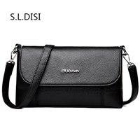 Fashion PU Flap Shoulder Bags Phone/Zipper Pocket Double Strap Women Handbag Fit Versatile Occasion Embroidery Line Small Bags