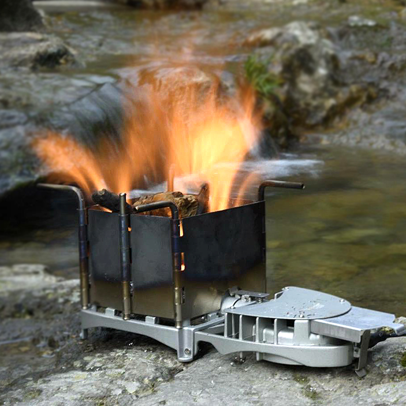 BRS Outdoor Firewood Wood Burner Stove Foldable Furnace Charcoal Cooker BBQ Electronic Blower Stove 6000W