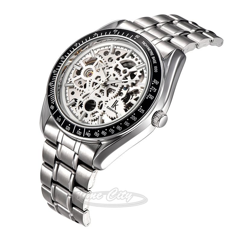 2016 Super Glow Gear IKcolouring Men Self Wind Automatic Mechanical Watch Skeleton Hollow Steel Strap Fashion