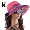 Envío libre 2017 sombreros de verano para mujeres chapeu feminino nueva moda viseras tapa anti-ultravioleta del sol playa sombrero de paja de 4 colores