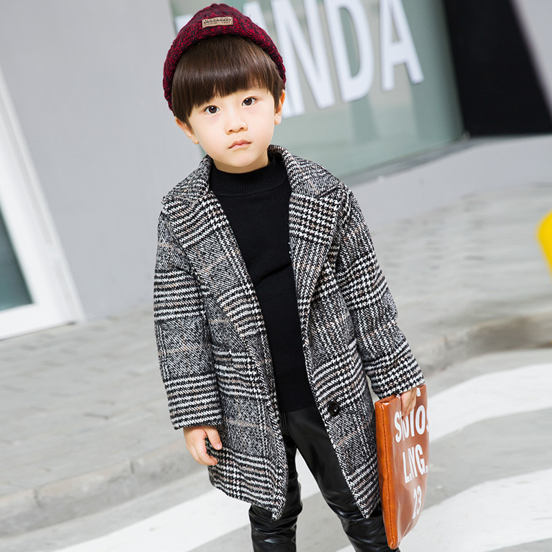 Children's jacket 2018 new autumn and winter boys woolen coat fashion plaid children's long suit collar collar woolen coat pitatel bt 128a аккумулятор для ноутбуков asus eee pc 700 701 801 900