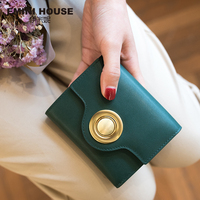 EMINI HOUSE Genuine Leather Trifold Short Wallet Clutch Wallets Ring Lock Lady Purse Multifunction Women Leather Coin Purse