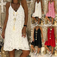 New Arrival Women Summer Beach Lace Mini Dress Ladies Strappy V Neck Sleeveless Holiday Sundress