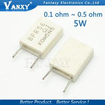 300 шт. bpr56 5 Вт 0.1 0.15 0.22 0.25 0.33 0.5 Ом неиндуктивный Керамика цемента резистор 0.1R 0.15r 0.22R 0.25r 0.33R 0.5R