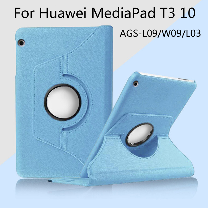 360 Degree Rotating Skin Smart Cover Case For Huawei MediaPad T3 10 AGS-L03 AGS-L09 AGS-W09 9.6 Inch Tablet Funda Coque