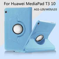 Funda de piel giratoria de 360 grados para Huawei MediaPad T3 10 AGS-L03 AGS-L09 AGS-W09 Tablet de 9,6 pulgadas