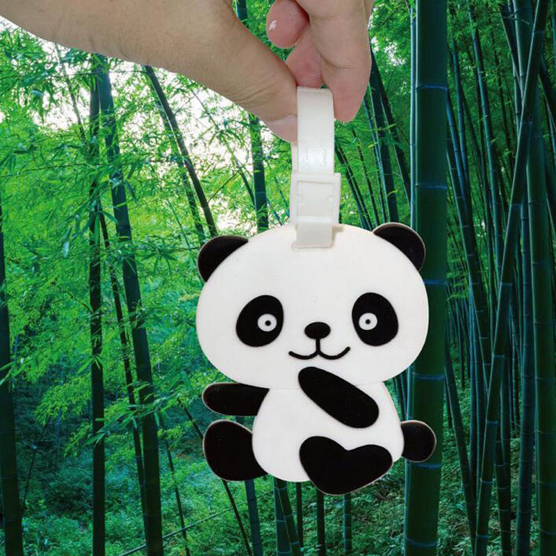 500pcs Panda Travel Accessories Suitcase Luggage Tags ID Address Holder Luggage Label PVC Identifier Bag Accessories ZA4593
