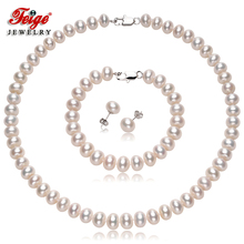 Genuine Women's Natural Freshwater Pearl Jewelry Sets 9-10mm White Pearls Necklace Set 925 Silver Earrings Fine Jewelry