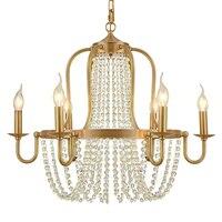 Медных роскошный отель бронза латунь люстры хрустальные бусины 6 вилла Декоративные Люстра латунь подвесной светильник