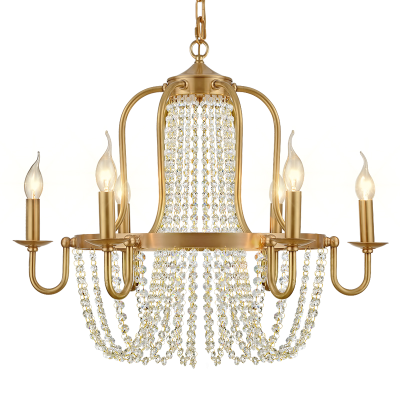full copper luxury hotel bronze brass chandelier crystal beads 6 lights villa decorative chandelier brass hanging light fixture