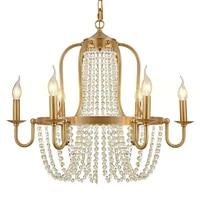 full copper luxury hotel bronze brass chandelier crystal beads 6 lights villa decorative chandelier brass hanging light fixture