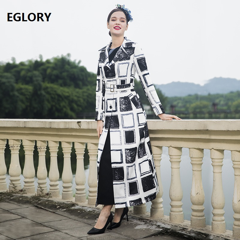 New 2018 Autumn Winter Lengthy Coat Trench Ladies Black White Plaid Sample Single Breasted Coat Windbreaker Plus Dimension Outerwear 3Xl