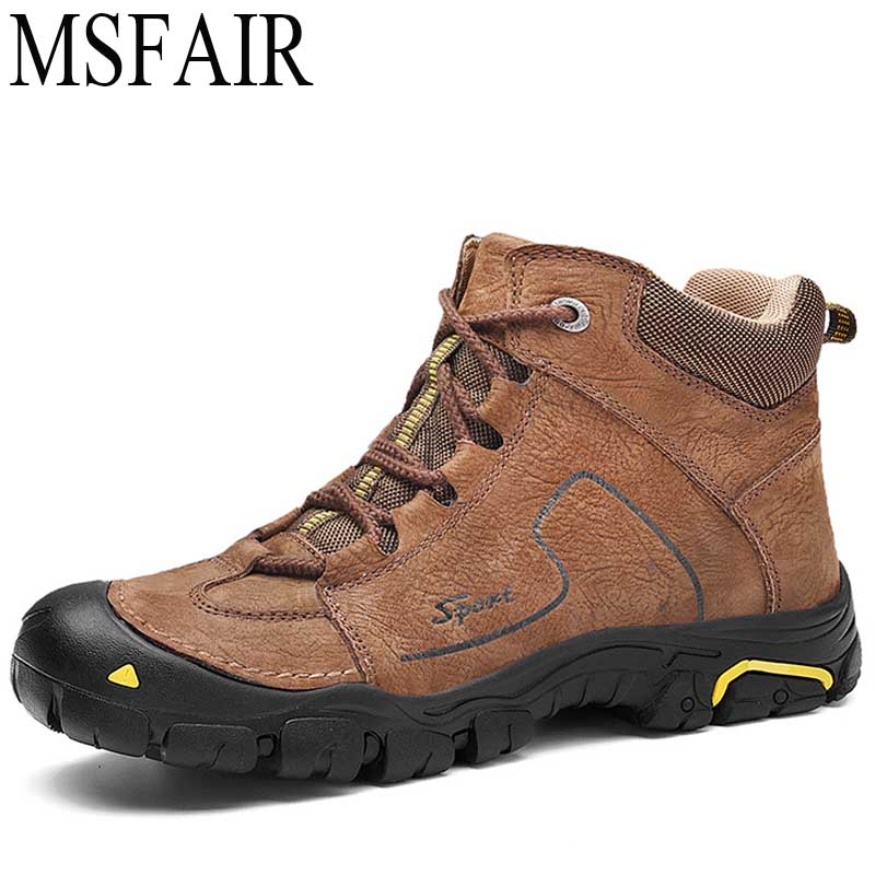 MSFAIR Men Hiking Shoes Man Brand Adults Mens Outdoor Hunting Trekking Climbing Sport Shoes For Male Anti-Slip Walking SneakerS