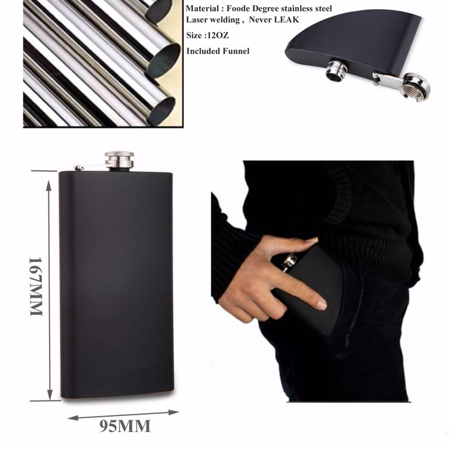 2017 New item  of  12 oz black stainless steel hip flask with free funnel , Food degree
