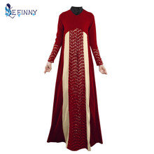 New arrived fashion Muslim women Long sleeve Dubai lace Dress maxi abaya jalabiya islamic women long dress clothing Moroccan