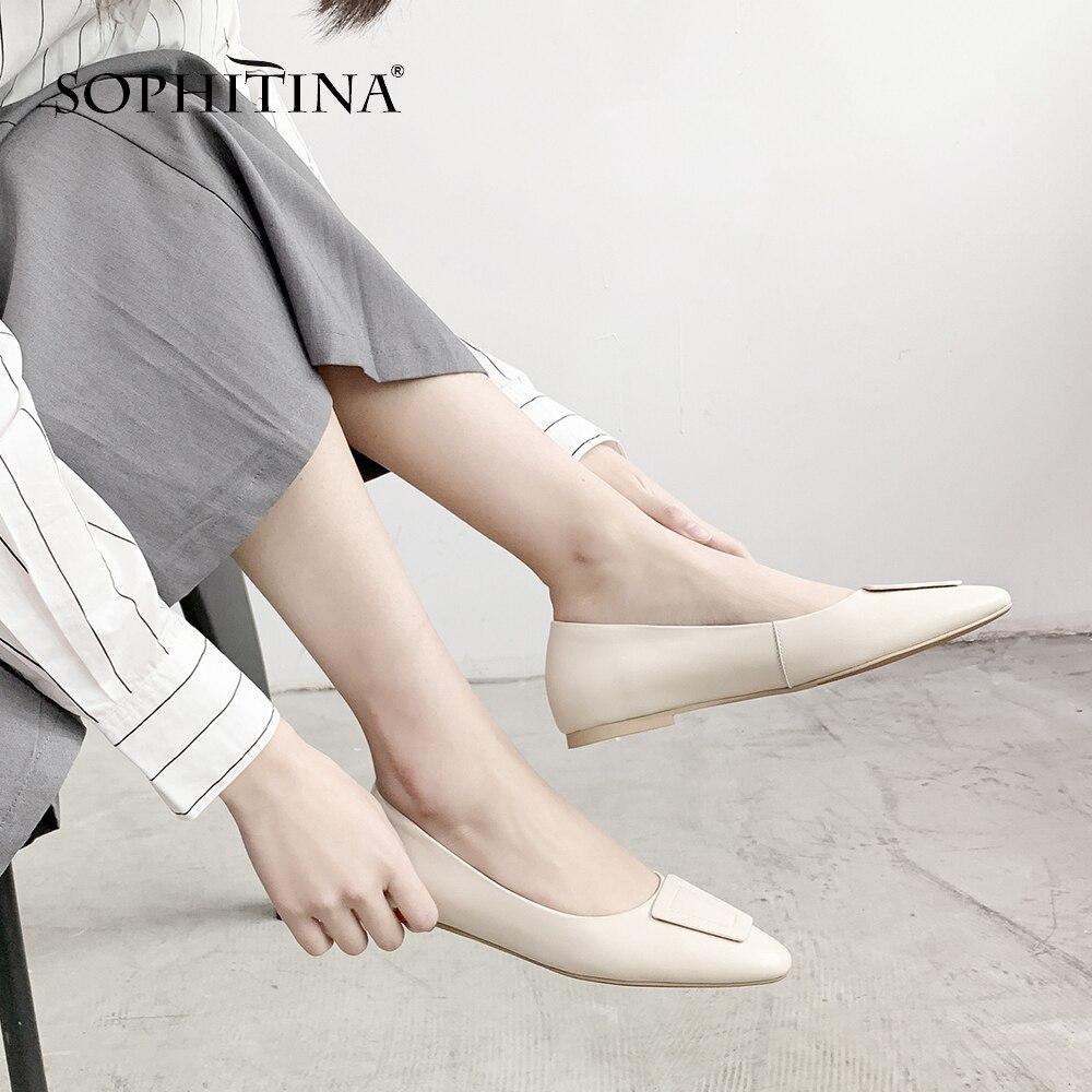 De Haute À Décontracté Chaussures Confortable Cuir Pointu Mo41 Coudre Unies En Sexy Véritable Femmes apricot Appartements Qualité white Bout Creamy Sophitina Mode EHI9D2