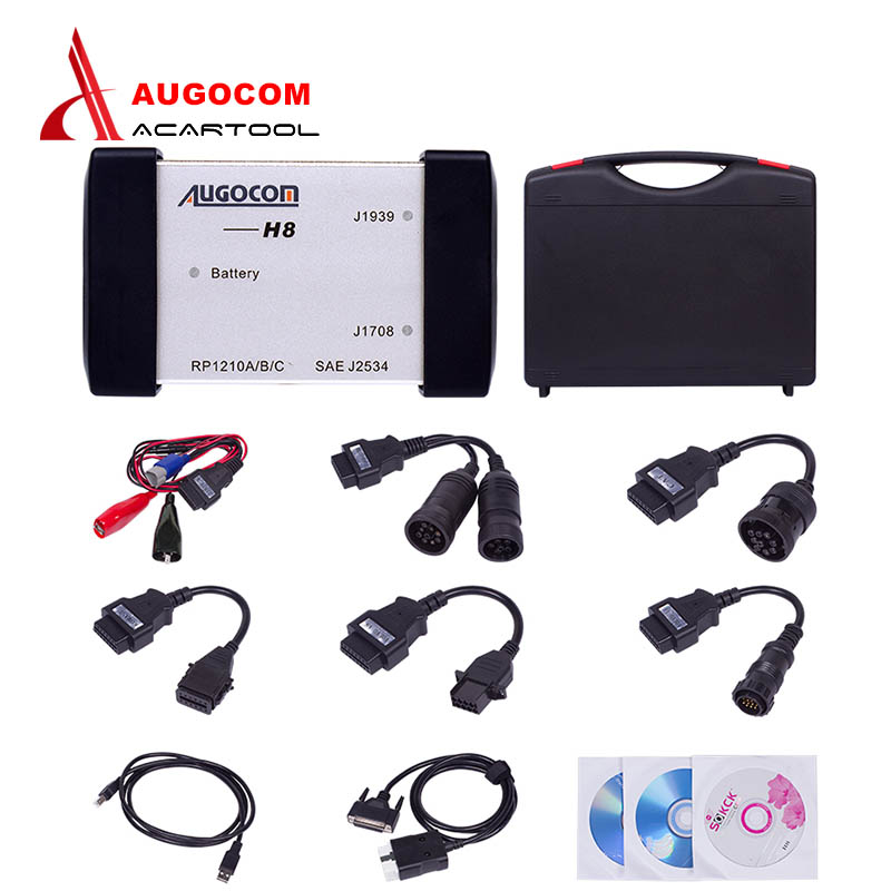 2017 Newest version AUGOCOM H8 auto scanner Heavy Duty Truck Diagnostic Tool +Software Diesel Truck Interface with Free DHL  цены