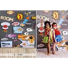 Crianças dos miúdos Meninas Fotografia Fundo Impresso Bebê Recém-nascido Chuveiro Adereços Cosplay de Super-heróis Sessão de Fotos Backdrops Piso De Madeira