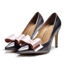Gray Sheepskin Sexy Pointy Toe Cute Bowknot Design Thin High Heels Women Pumps Elegant Fashion Banquet Shoes Discount Footwear