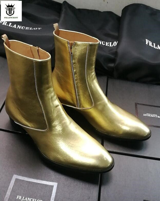 LANCELOT 2019 gold sequin leather men booties Chelsea Boots metallic gold  Ankle Boots Men s 931ef3e98
