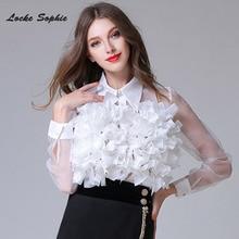 1pcs Ladies Plus size blouses tops 2019 Spring Chiffon organza Splicing irregular Primer shirts womens Skinny Retro Sexy
