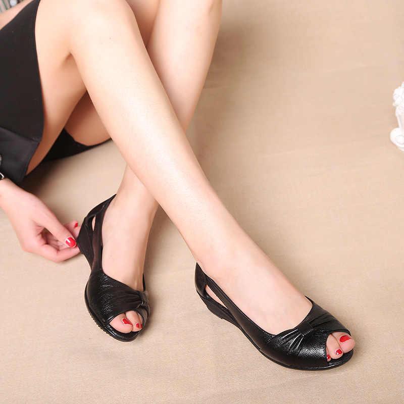 BEYARNE 2020 femmes chaussures été nouvelle mode doux en cuir véritable femme sandales grande taille dames sandales plates femme SandalsE351